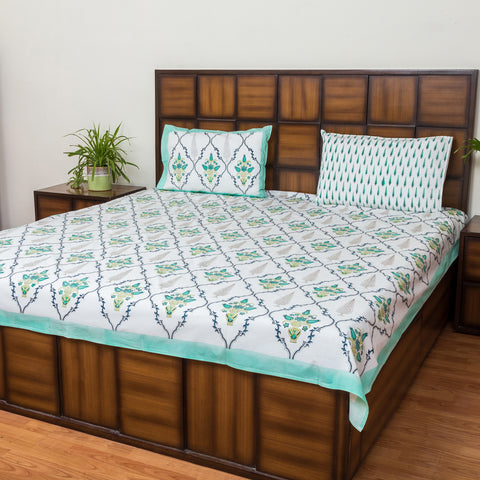 Green Maze Double Bed Bedsheet with 2 Reversible Pillow Covers - 90x108 inch-Rajwada Bedsheets-CottonLanes