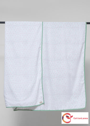 Green Tendril Pure Muslin, Reversible AC Comforter for Double Bed (90x108 inch)-Malmal Comforters-CottonLanes