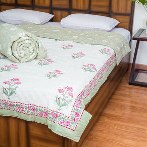 Green Valley Single Bed Reversible Quilt-Quilts-CottonLanes