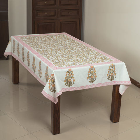 Heap of Leaves 6 Seater Hand Block Printed, Canvas Fabric Dining Table Cover - 60x90 inch-Table Covers-CottonLanes