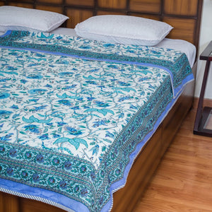 Teal Blue Pure Cotton, Reversible AC Comforter for Single Bed (60x90 inch)