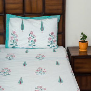 Miracle Garden Double Bed Bedsheet with 2 Reversible Pillow Covers - 90x108 inch