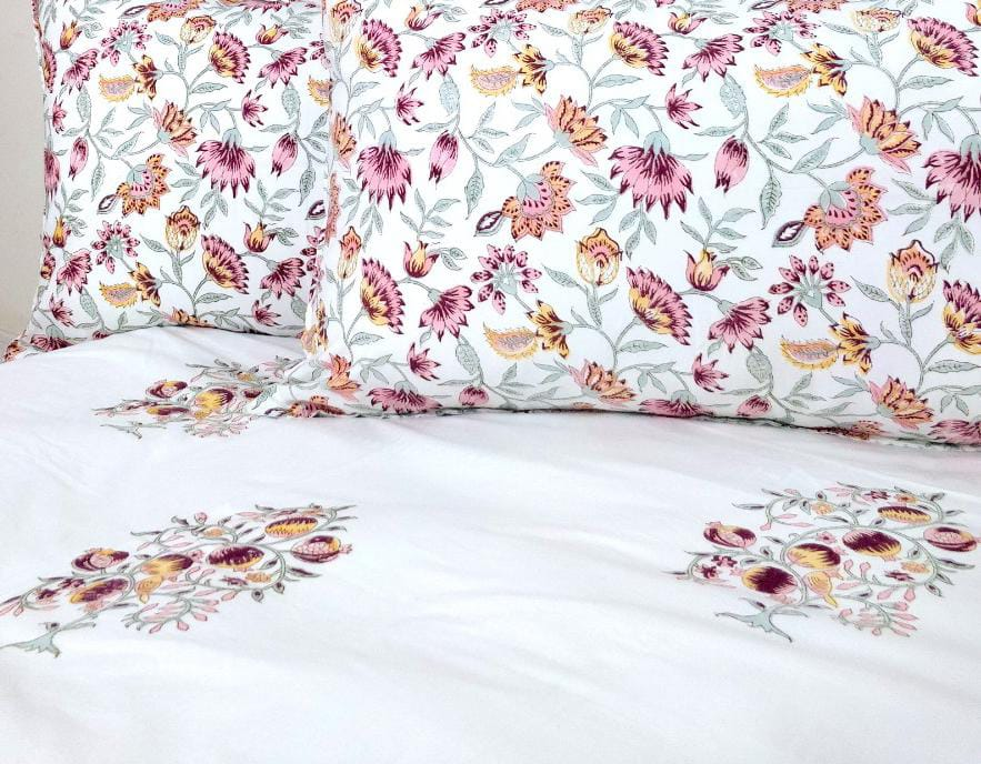 Cosmos Garden Double Bed Bedsheet with 2 Reversible Pillow Covers - 90x108 inch