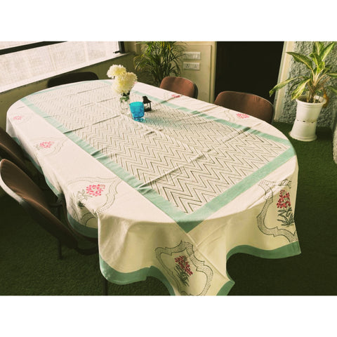 Petunia Garden 6 Seater Hand Block Printed, Canvas Fabric Dining Table Cover - 60x90 inch