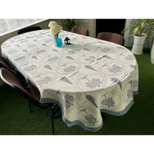 Cypress Jungle 6 Seater Hand Block Printed, Canvas Fabric Dining Table Cover - 60x90 inch