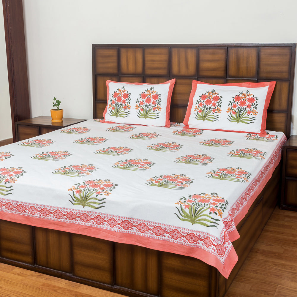 Kesar Bouquet Double Bed Bedsheet with 2 Reversible Pillow Covers - 90x108 inch-Rajwada Bedsheets-CottonLanes