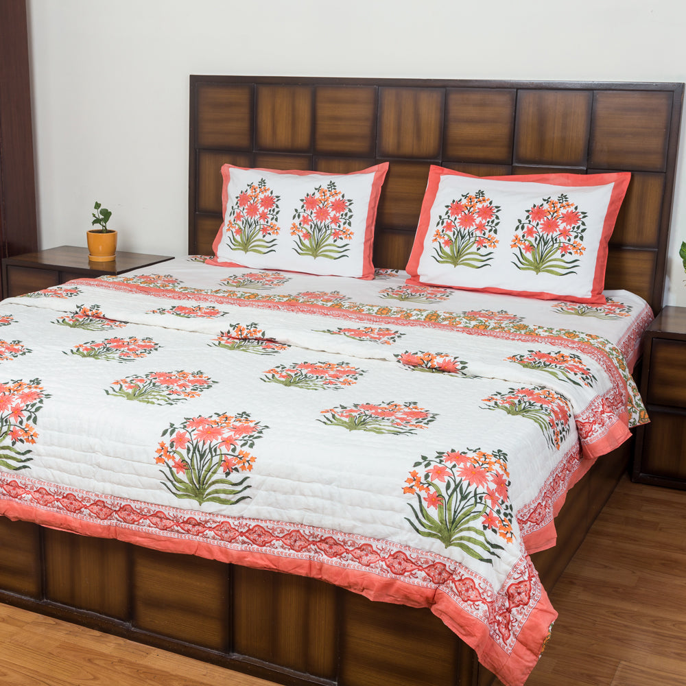Kesar Bouquet Double Bed Reversible Quilt - 90x108 inch-Quilts-CottonLanes