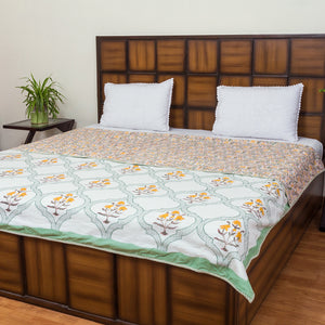 Kesar Floral Window Pure Cotton, Reversible AC Comforter for Double Bed (90x108 inch)-Rajwada Comforters-CottonLanes