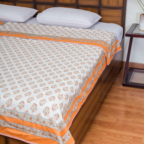Kesar Kesar Pure Cotton, Reversible AC Comforter for Single Bed (60x90 inch)-Mughal Comforters-CottonLanes
