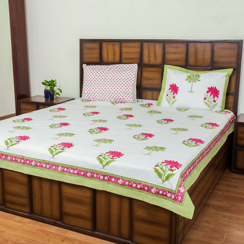 Leaves and Petals Double Bed Bedsheet with 2 Reversible Pillow Covers - 90x108 inch-Rajwada Bedsheets-CottonLanes