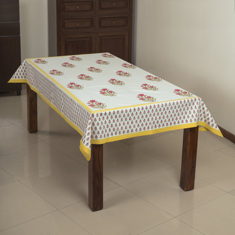 Lily Farms 6 Seater Hand Block Printed, Canvas Fabric Dining Table Cover - 60x90 inch - CottonLanes
