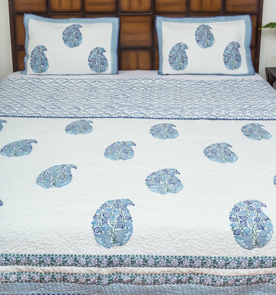 Lotus Love Pure Cotton Reversible Quilted BedCover for Double Bed, King Size - 90x108 inch, 2 Pillow Covers, Multipurpose-Bedcovers-CottonLanes