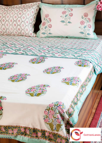 Lotus Maze Single Bed Reversible Comforter & Double Bed Bedsheet Set-Set-CottonLanes