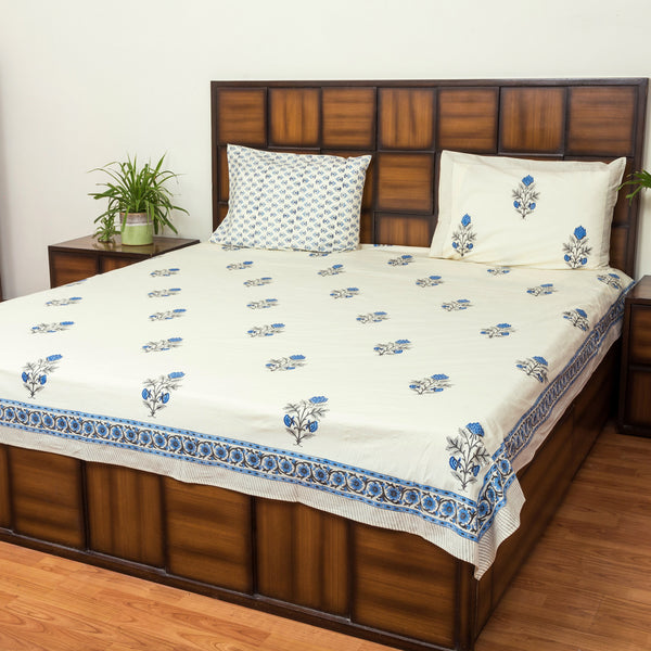Magical Blue Double Bed Bedsheet with 2 Reversible Pillow Covers - 90x108 inch-Rajwada Bedsheets-CottonLanes