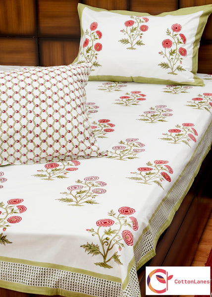 Marigold Garden (Peach) Double Bed Bedsheet with 2 Reversible Pillow Covers - 90x108 inch-Rajwada Bedsheets-CottonLanes