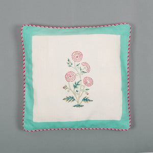 Marigold Letter: Hand Block Printed, Canvas Cushion Cover, 16x16 Inches, Set of 5-Cushion Covers-CottonLanes