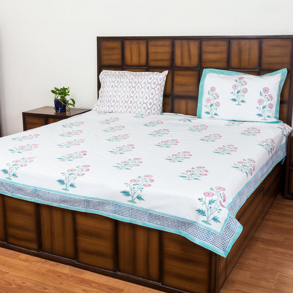 Marigold Letter Double Bed Bedsheet with 2 Reversible Pillow Covers - 90x108 inch-Rajwada Bedsheets-CottonLanes