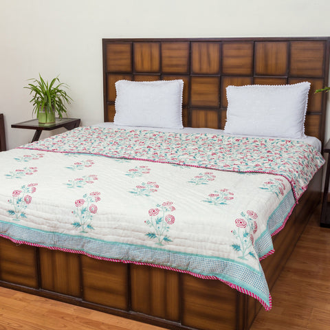 Marigold Letter Double Bed Reversible Quilt-Quilts-CottonLanes