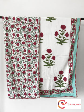 Maroon Lotus Jaal Single Bed Reversible Comforter-Rajwada Comforters-CottonLanes