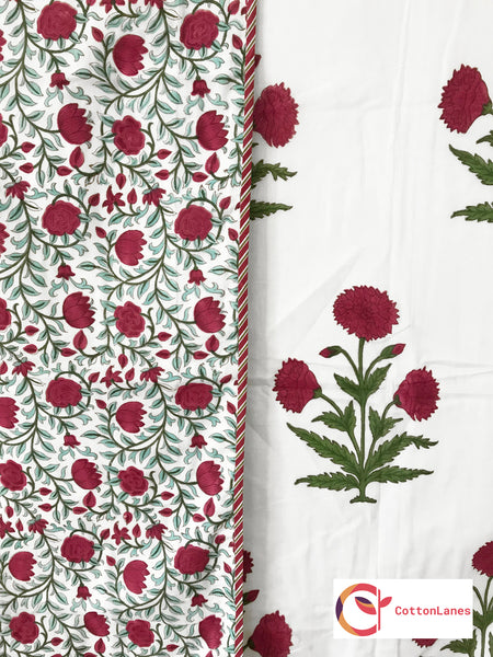 Maroon Lotus Jaal Pure Cotton, Reversible AC Comforter for Single Bed (60x90 inch)-Rajwada Comforters-CottonLanes