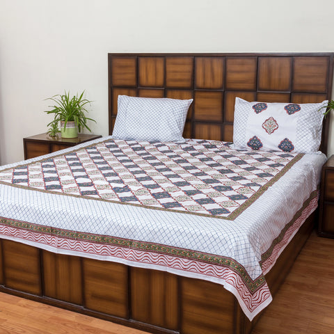 Maze Garden Double Bed Bedsheet with 2 Reversible Pillow Covers - 90x108 inch-Rajwada Bedsheets-CottonLanes