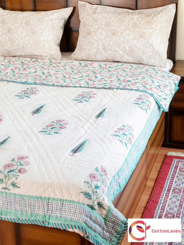 Miracle Garden Double Bed Reversible Quilt - 90x108 inch-Quilts-CottonLanes
