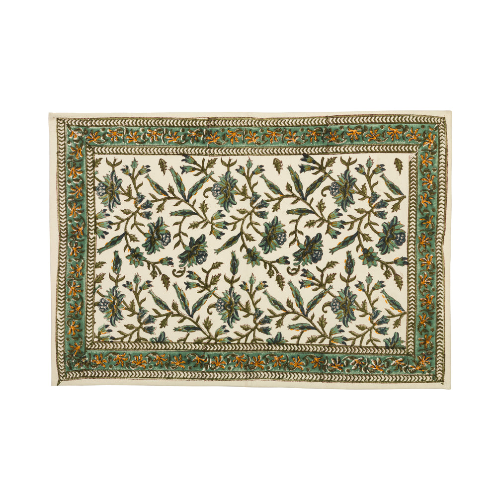 Mughal Jaal 6 Seater Hand Block Printed, Canvas Table Mats, Set of 6-Table Mats-CottonLanes