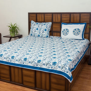Near the Sea Premium Jacquard Fabric BedCover for Double Bed (90x108 inch) 2 Pillow Covers-Bedcovers-CottonLanes