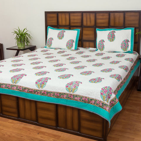 Paan Petals Pure Cotton Quilted BedCover for Double Bed (90x108 inch) 2 Pillow Covers, Multipurpose - CottonLanes