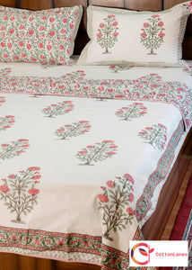 Peach Tea Rose Single Bed Reversible Comforter & Double Bed Bedsheet Set-Set-CottonLanes