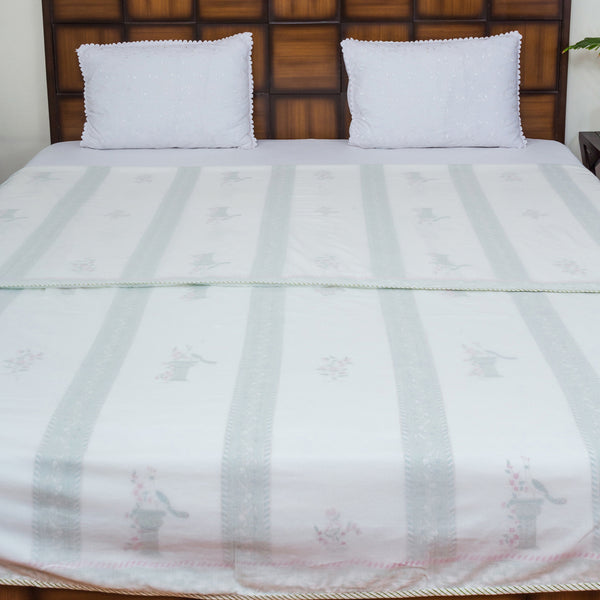 Peacock in the Verandah Pure Muslin, Reversible AC Comforter for Double Bed (90x108 inch)-Malmal Comforters-CottonLanes