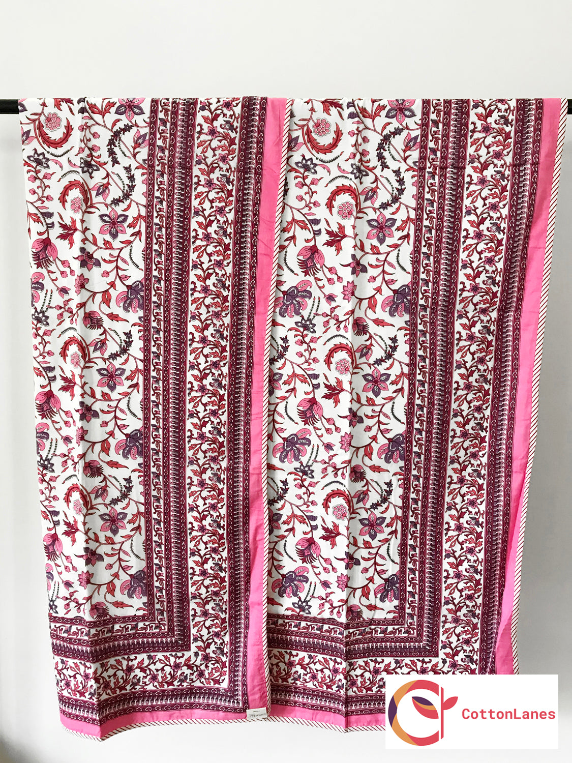 Pink All Over Single Bed Reversible Mughal Comforter-CottonLanes