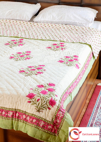 Pink Bouquet Single Bed Quilt-CottonLanes