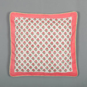Pink Buds : Hand Block Printed, Canvas Cushion Cover, 18x18 Inches, Set of 5-Cushion Covers-CottonLanes
