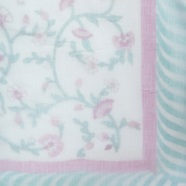 Pink Fence Pure Muslin, Reversible AC Comforter for Double Bed (90x108 inch)-Malmal Comforters-CottonLanes