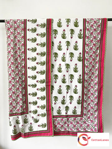 Green & Pink Motif Single Bed Reversible Mughal Comforter-CottonLanes