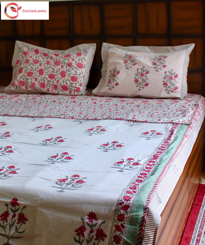 Pink Jaal Single Bed Reversible Comforter & Double Bed Bedsheet Set-Set-CottonLanes