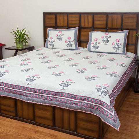 Pink Rose Double Bed Quilted BedCover-Bedcovers-CottonLanes