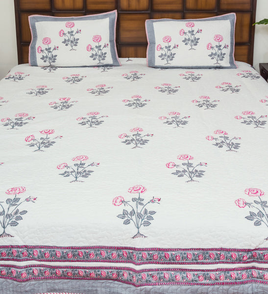 Pink Rose Pure Cotton Quilted BedCover for Double Bed (90x108 inch) 2 Pillow Covers, Multipurpose-Bedcovers-CottonLanes