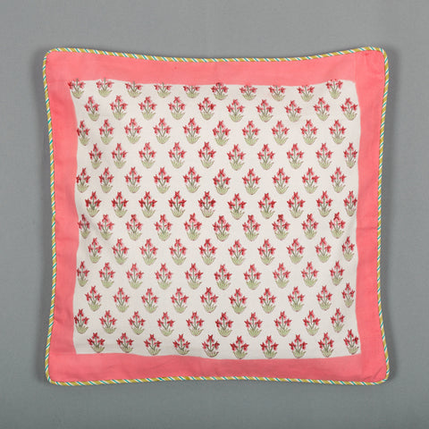 Pink Spread : Hand Block Printed, Canvas Cushion Cover, 18x18 Inches, Set of 5-Cushion Covers-CottonLanes