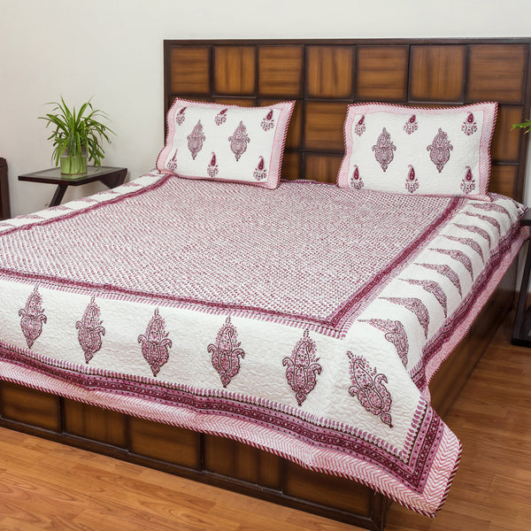 Pink Summer Double Bed Quilted BedCover-Bedcovers-CottonLanes