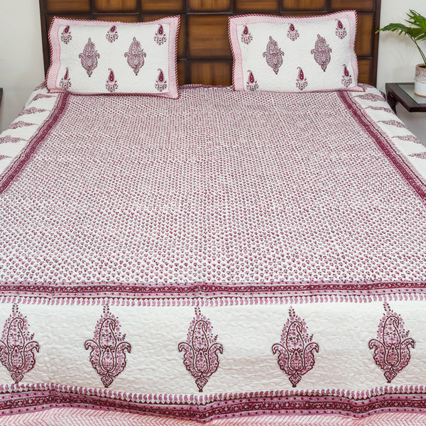 Pink Summer Pure Cotton Quilted BedCover for Double Bed (90x108 inch) 2 Pillow Covers, Multipurpose-Bedcovers-CottonLanes
