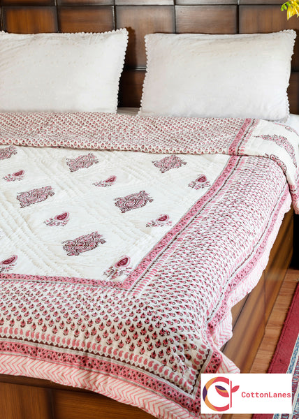 Pink Summer Double Bed Reversible Quilt - 90x108 inch-Quilts-CottonLanes