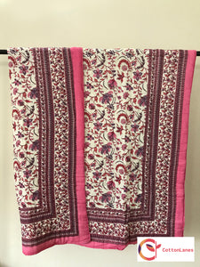 Pink Valley Mughal Quilt-Quilts-CottonLanes