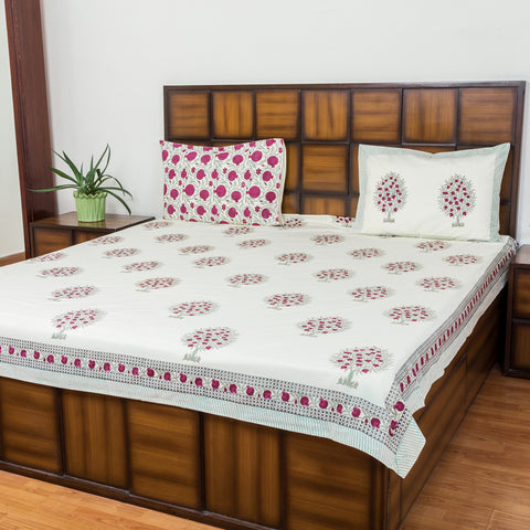 Pomegranate Bloom Double Bed Bedsheet with 2 Reversible Pillow Covers - 90x108 inch-Rajwada Bedsheets-CottonLanes