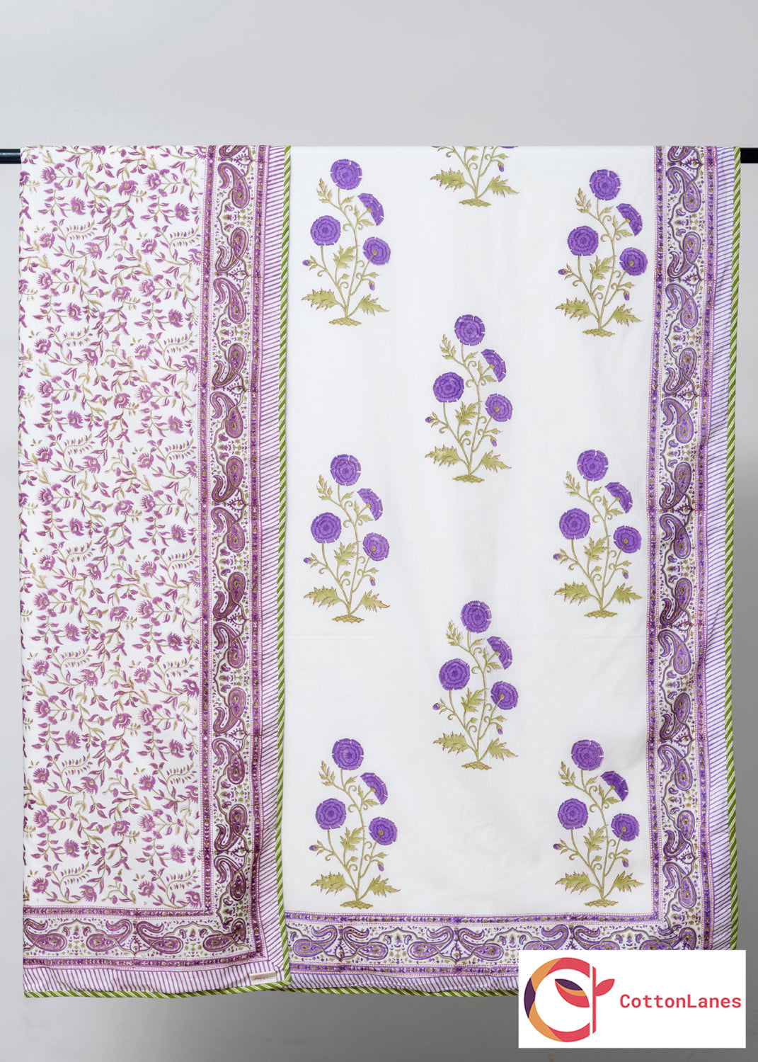 Purple Sky Pure Cotton, Reversible AC Comforter for Single Bed (60x90 inch)-Rajwada Comforters-CottonLanes