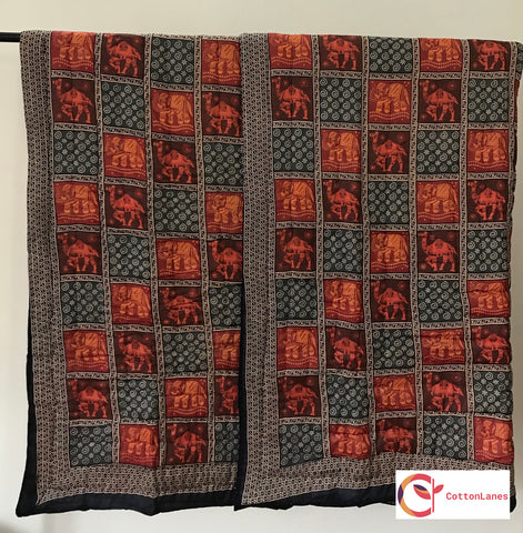 Rajasthan Pride Double Bed Quilt-Quilts-CottonLanes