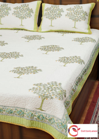 Raw Mango Quilted Bedcover-Bedcovers-CottonLanes