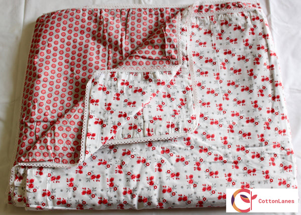 Red Poppy Double Bed Reversible Comforter-CottonLanes