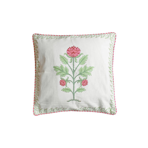 Rose Buds : Hand Block Printed, Canvas Cushion Cover, 18x18 Inches, Set of 5-Cushion Covers-CottonLanes